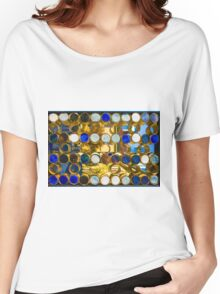 Blue mosaic glass window at sunset Women's Relaxed Fit T-Shirt