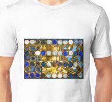 Blue mosaic glass window at sunset Unisex T-Shirt