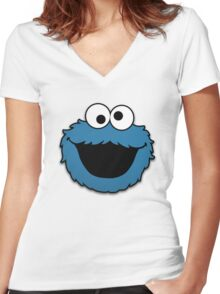 Cookie Monster Muppet Women's Fitted V-Neck T-Shirt