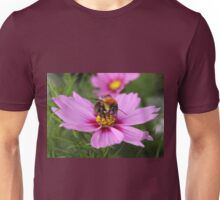 Bee on Pink Cosmos Unisex T-Shirt