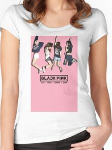 black pink 8 Women's Fitted Scoop T-Shirt