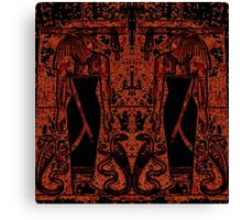 Egyptian Priests and Cobras Black and Orange I Canvas Print