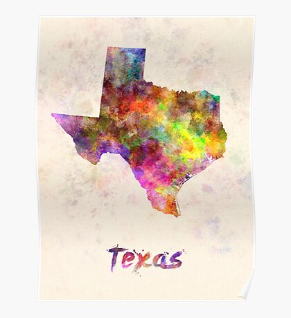 Texas US state in watercolor Poster