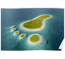 Eco footprint shaped island Poster