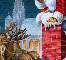 Vintage Santa Christmas Greeting Card Sticker