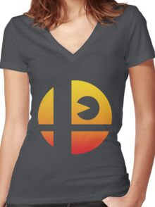 Super Smash Bros - Pac-Man Women's Fitted V-Neck T-Shirt