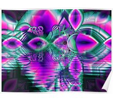 Teal Violet Crystal Palace, Abstract Fractal Cosmic Heart Poster