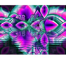 Teal Violet Crystal Palace, Abstract Fractal Cosmic Heart Photographic Print