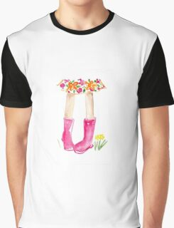 Walking Through the Meadow Watercolour Illustration Graphic T-Shirt