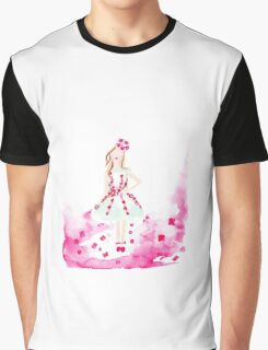 Wearing the Garden Watercolour Illustration Graphic T-Shirt