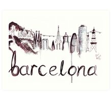 Barcelona Skyline Watercolour Illustration Art Print