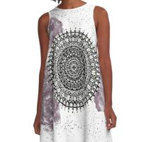 Mandala with peonies - fusion A-Line Dress