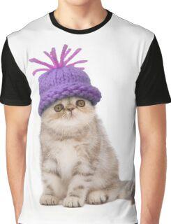 Cute Tabby kitten wearing purple hat Graphic T-Shirt