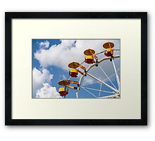 Giant Ferris Wheel In Fun Park On Blue Sky Framed Print