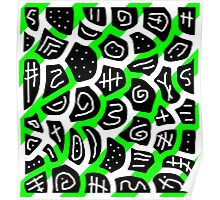 Green playful pattern Poster