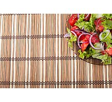 Fragment of a transparent plate of fresh vegetarian salad of raw vegetables Photographic Print