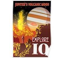 Jupiter Io Retro Space Travel Illustration Poster