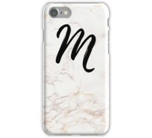 Pink Marble Effect Monogram - M iPhone Case/Skin