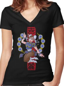 PIN UP FIGHTER Women's Fitted V-Neck T-Shirt