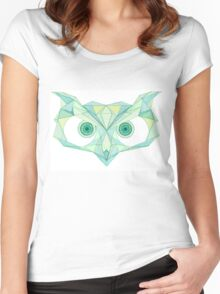 Angry owl line drawing Women's Fitted Scoop T-Shirt