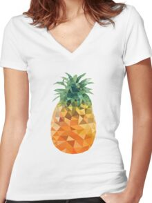 Low Poly Pineapple Women's Fitted V-Neck T-Shirt