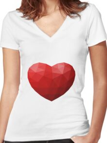 Low Poly Heart Women's Fitted V-Neck T-Shirt