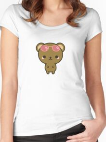 Cute bear on holiday Women's Fitted Scoop T-Shirt