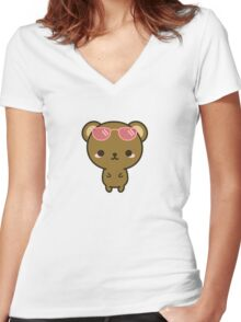 Cute bear on holiday Women's Fitted V-Neck T-Shirt