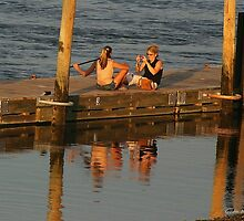 Sunset Photographer on a Pier by Gilda Axelrod