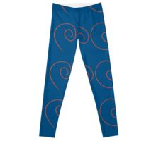 Spiral - Red on Blue Leggings