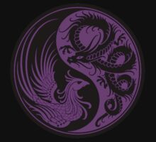 Purple and Black Dragon Phoenix Yin Yang Kids Clothes