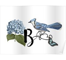 Bluebird Vintage Floral Initial B Poster