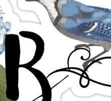 Bluebird Vintage Floral Initial B Sticker