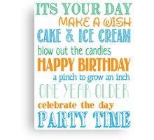 Birthday Fun - Blue Canvas Print
