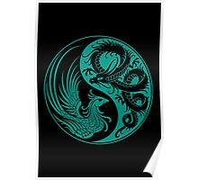 Teal Blue and Black Dragon Phoenix Yin Yang Poster