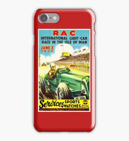 """ISLE OF MAN"" Vintage Grand Prix Auto Race Print iPhone Case/Skin"