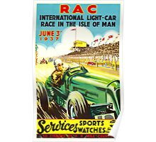 """ISLE OF MAN"" Vintage Grand Prix Auto Race Print Poster"
