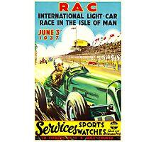 """ISLE OF MAN"" Vintage Grand Prix Auto Race Print Photographic Print"
