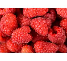Fresh Red Raspberry Fruits Background Photographic Print