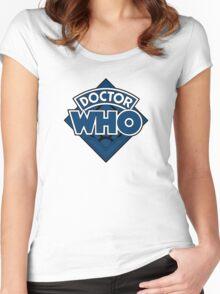 Doctor Who - Diamond Logo Blue Black Bars Women's Fitted Scoop T-Shirt