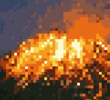 Pixel Volcano Sticker