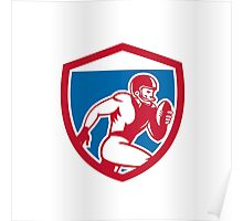 American Football Player Running Shield Retro Poster