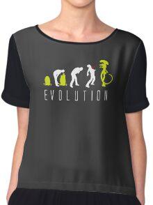Evolution of Alien Funny Logo Chiffon Top