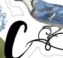 Bluebird Vintage Floral Initial C Sticker