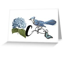 Bluebird Vintage Floral Initial C Greeting Card