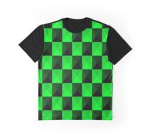 Metallic Green & Black Checkers Pattern Graphic T-Shirt