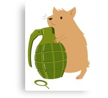 Hamster with a Handgrenade Canvas Print