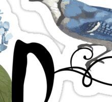 Bluebird Vintage Floral Initial D Sticker