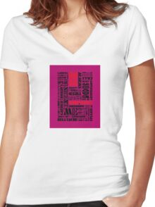 Writer*s Block • No Surprises - Colourful Women's Fitted V-Neck T-Shirt