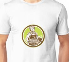 Organic Female Farmer Farm Produce Harvest Woodcut Unisex T-Shirt